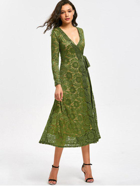 buy Plunging Neck Floral Lace Wrap Dress - GREEN M
