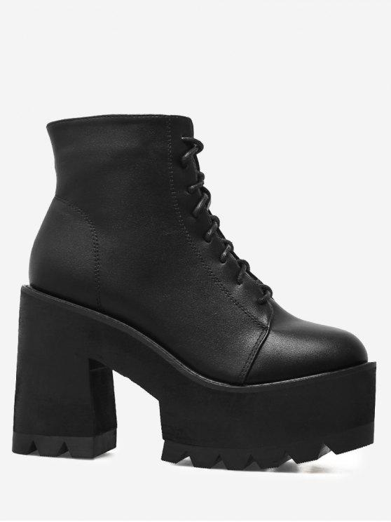 Chunky Heel Lace UP Platform Boots - Noir 36