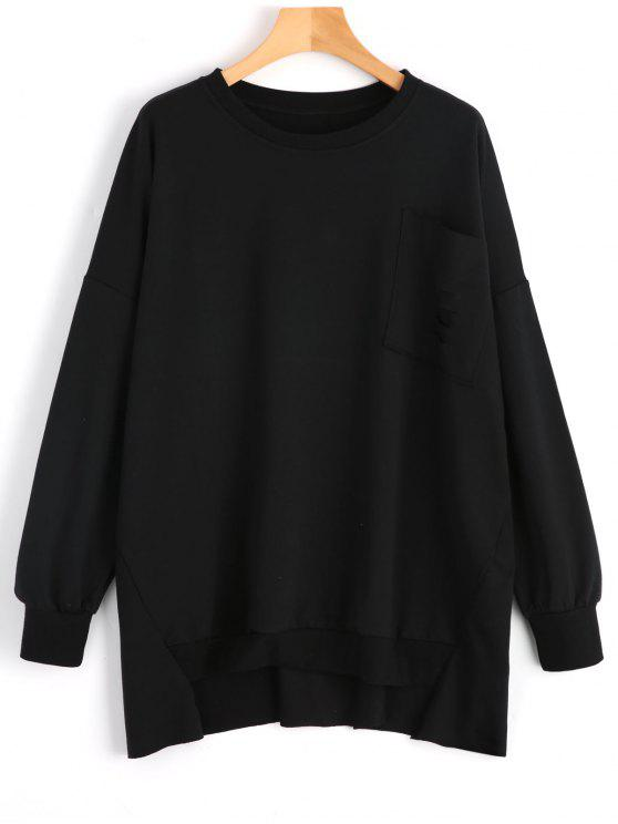 sale Oversize High Low Distressed Sweatshirt - BLACK M