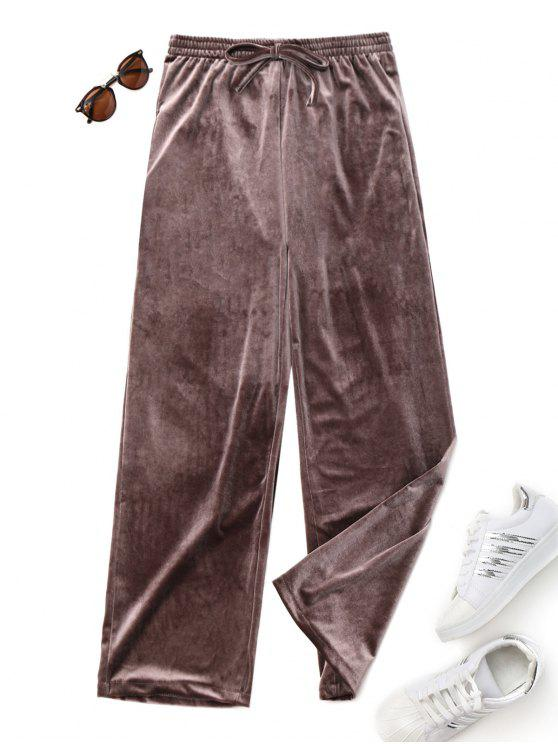 Pantaloni di velluto casual legato - Caffè Una Taglia