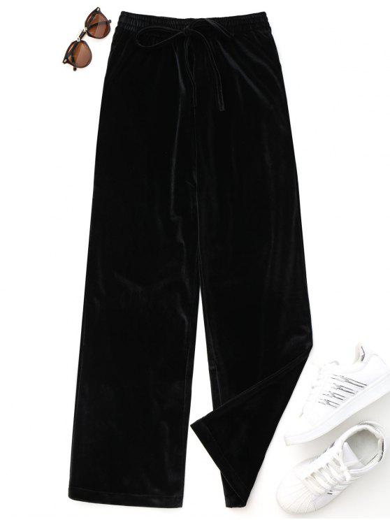 women's Casual Tied Velvet Pants - BLACK ONE SIZE