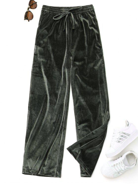 Casual pantalones de terciopelo atados - Verde Única Talla