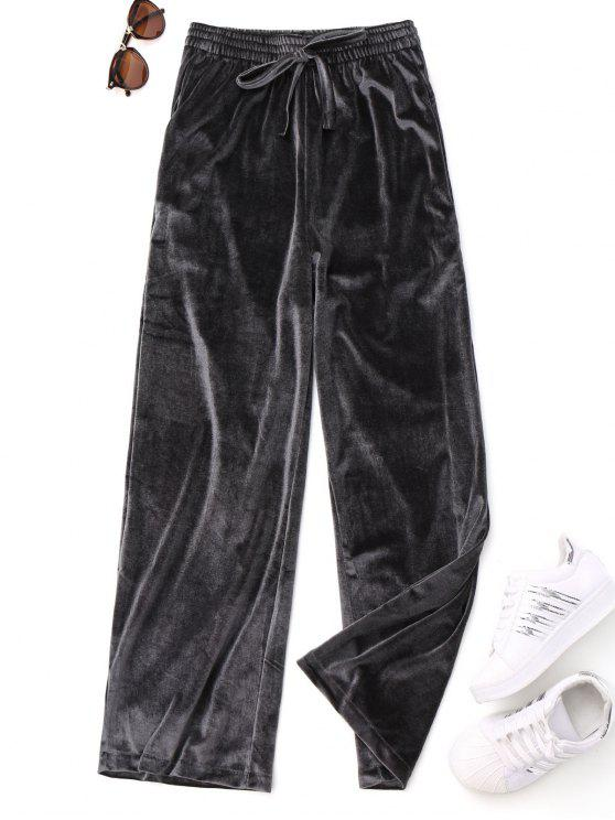 lady Casual Tied Velvet Pants - GRAY ONE SIZE