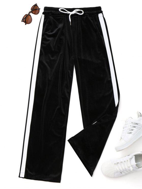 best Drawstring Two Tone Velvet Pants - BLACK ONE SIZE