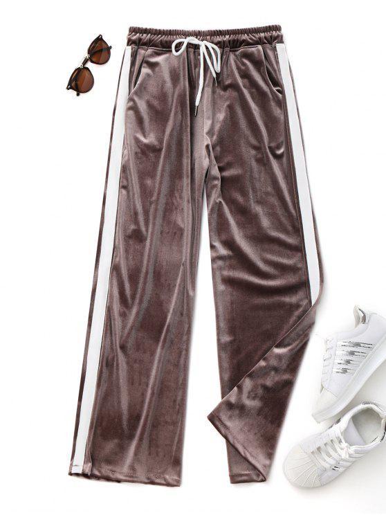 Pantalons en velours à deux tons à cordon - café TAILLE MOYENNE