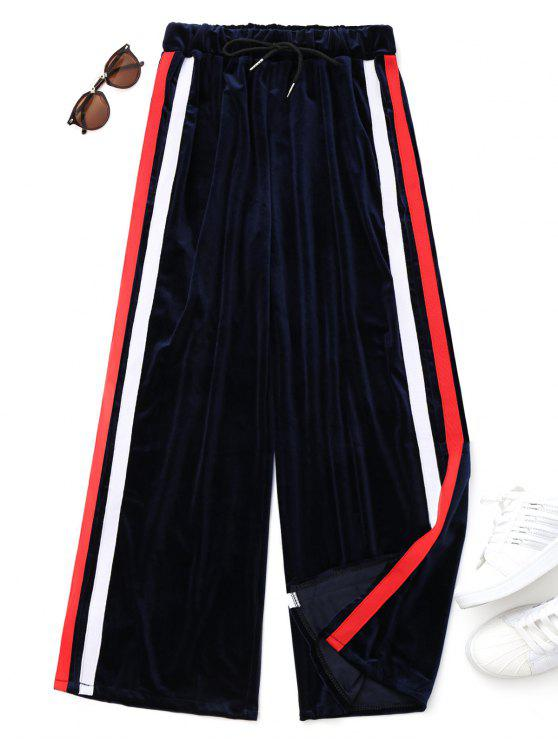outfit Drawstring Striped Velvet Pants - BLUE ONE SIZE