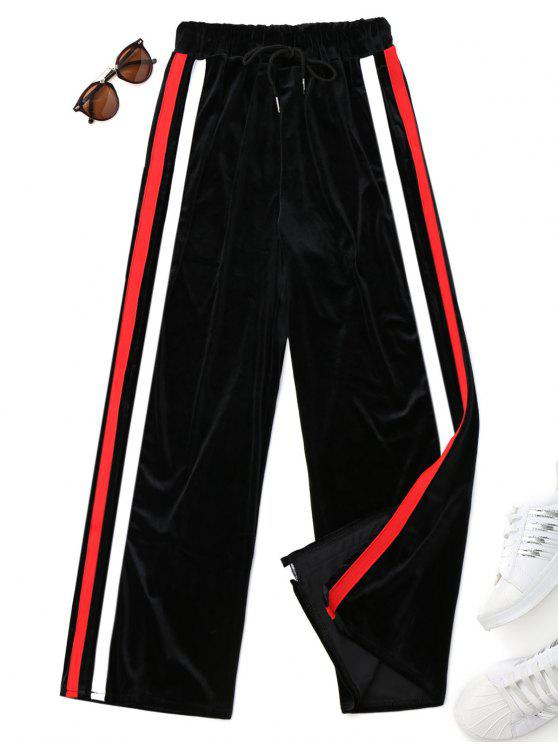 outfits Drawstring Striped Velvet Pants - BLACK ONE SIZE