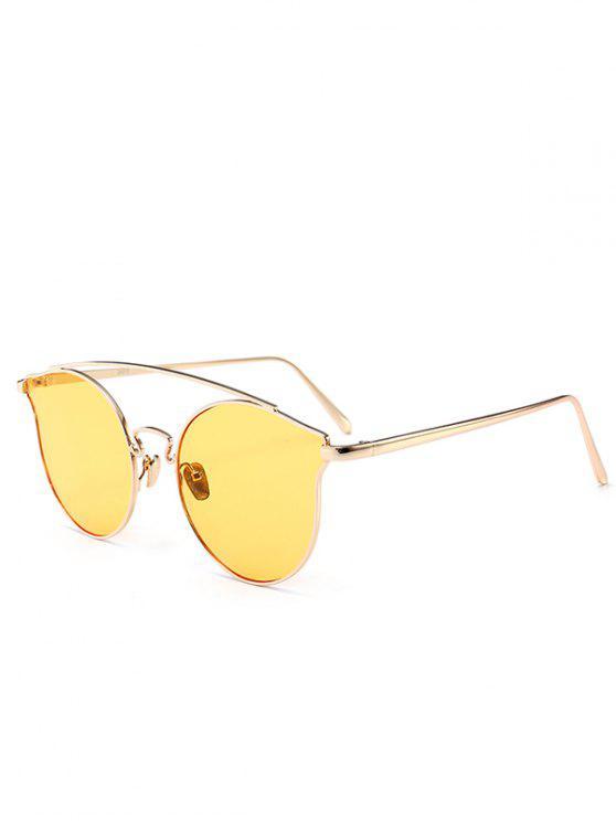 Metal Frame Full Rim Butterfly Sunglasses - Amarelo Claro
