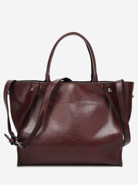 حقيبة كتف من الجلد المزيف مزينة بقطع معدنية - احمر غامق