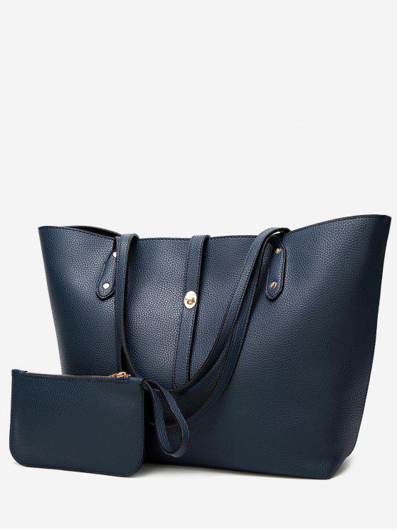 shops Rivets 2 Pieces Shoulder Bag Set - BLUE