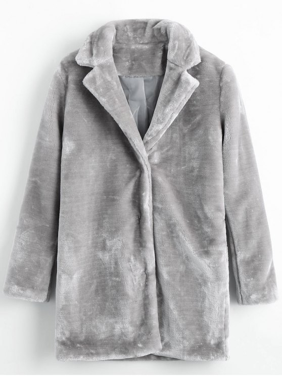 women Snap Button Pockets Faux Fur Coat - GRAY M