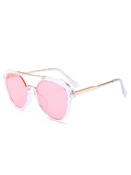 best Metal Full Frame Crossbar Sunglasses - LIGHT PINK