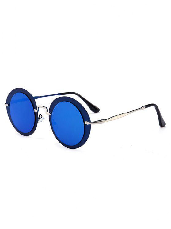 latest Outdoor Metal Full Frame Round Sunglasses - SEA BLUE