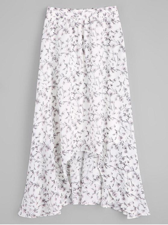 Jupe asymétrique florale mince en mousseline de soie - Floral S