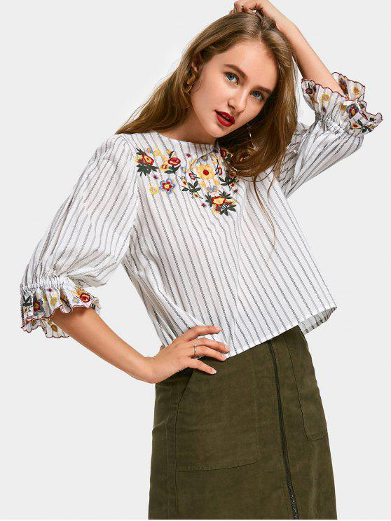 women Ruffles Floral Embroidered Stripes Blouse - WHITE S