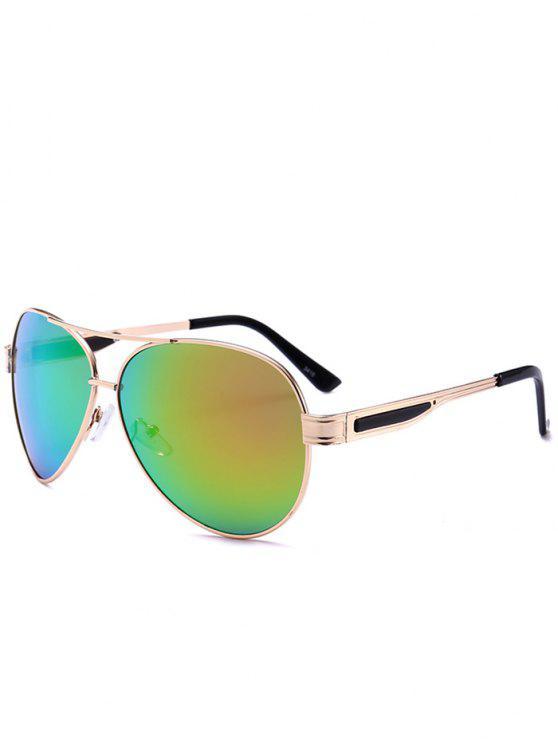 buy Metal Frame Crossbar Pilot Sunglasses - GOLD FRAME+GREEN LENS C5