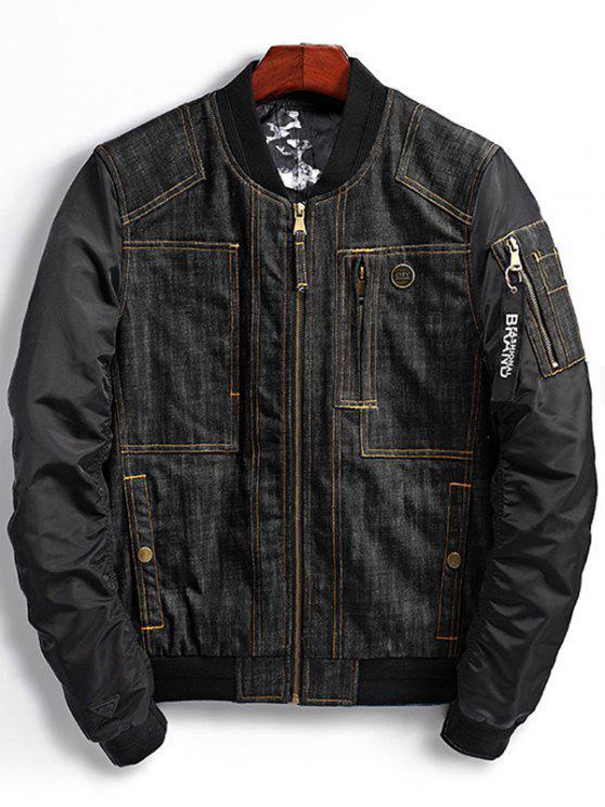 latest Denim Panel Bomber Jacket with Pocket Detail - BLACK M