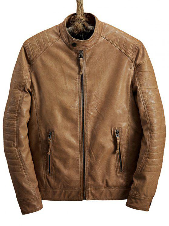 latest Zip Pocket Raglan Sleeve Faux Leather Jacket - LIGHT BROWN M