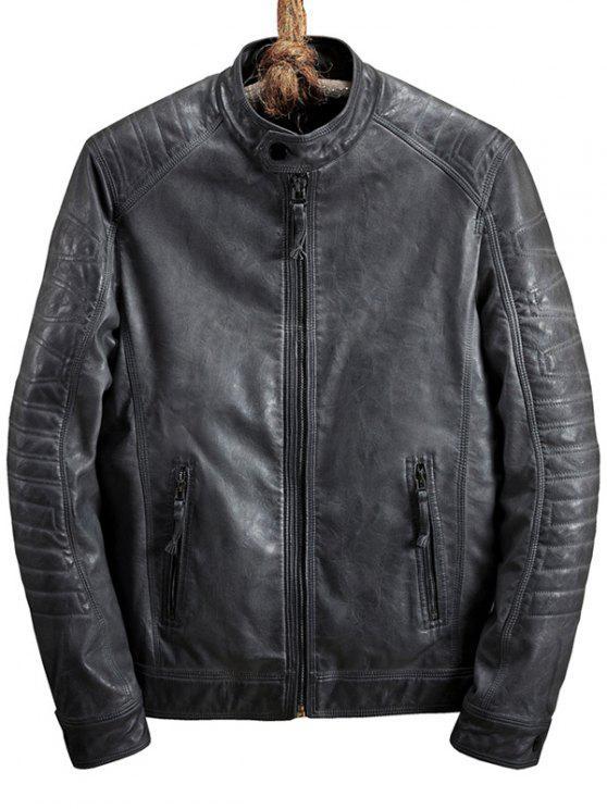 buy Zip Pocket Raglan Sleeve Faux Leather Jacket - GRAY M