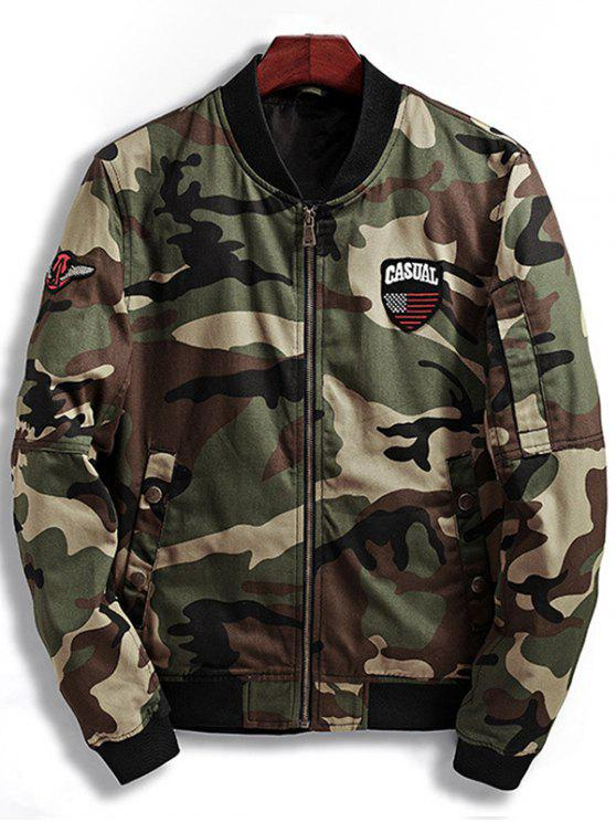 women's Patch Design Camouflage Bomber Jacket - COFFEE XL