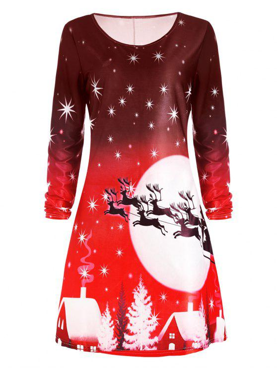 chic Christmas Deer Long Sleeve Dress - RED L