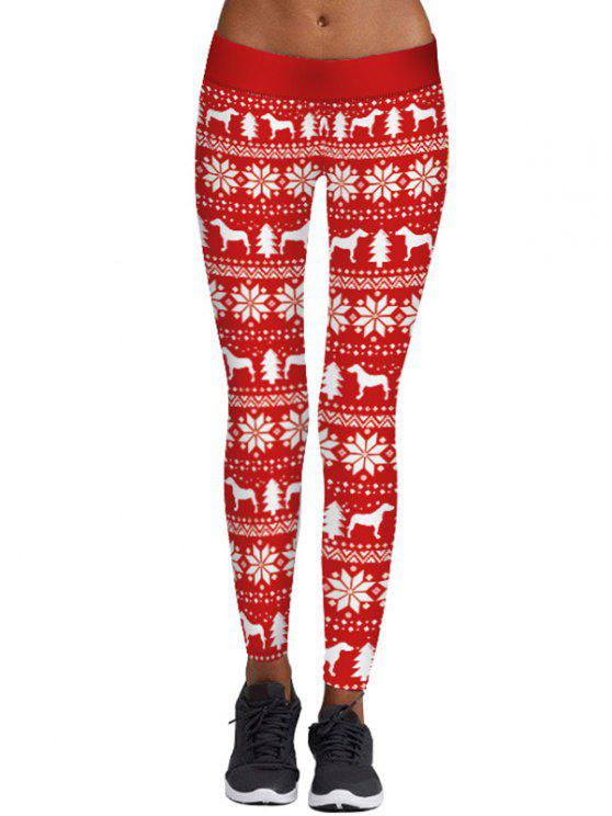 ladies Christmas Snowflake Tree Print Skinny Leggings - RED M
