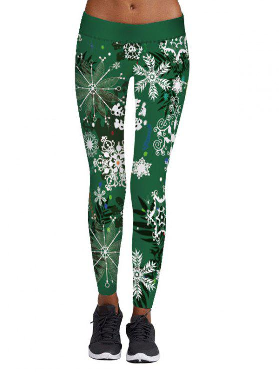 chic Christmas Snowflake Print Elastic Waist Leggings - GREEN L