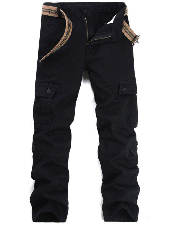 Zipper Fly Pockets Cargo Pants - Preto 38