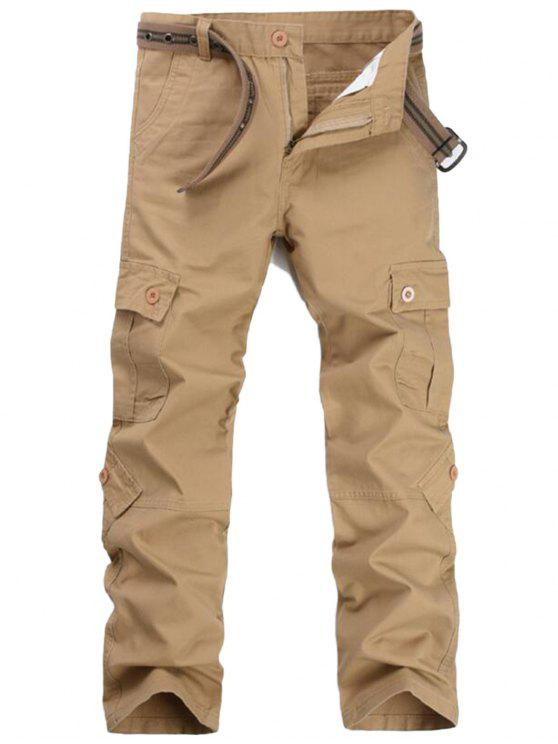women Zipper Fly Pockets Cargo Pants - KHAKI 32