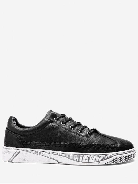 PU Leather Whipstitch Casual Shoes - Preto 39