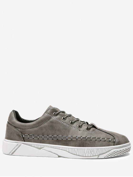 hot PU Leather Whipstitch Casual Shoes - GRAY 43