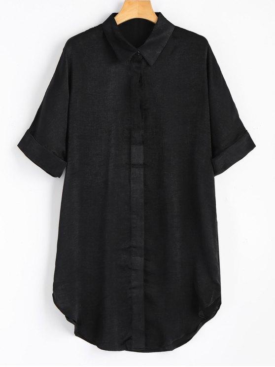 Robe Chemise Boutonnée à Manches Courtes - Noir L