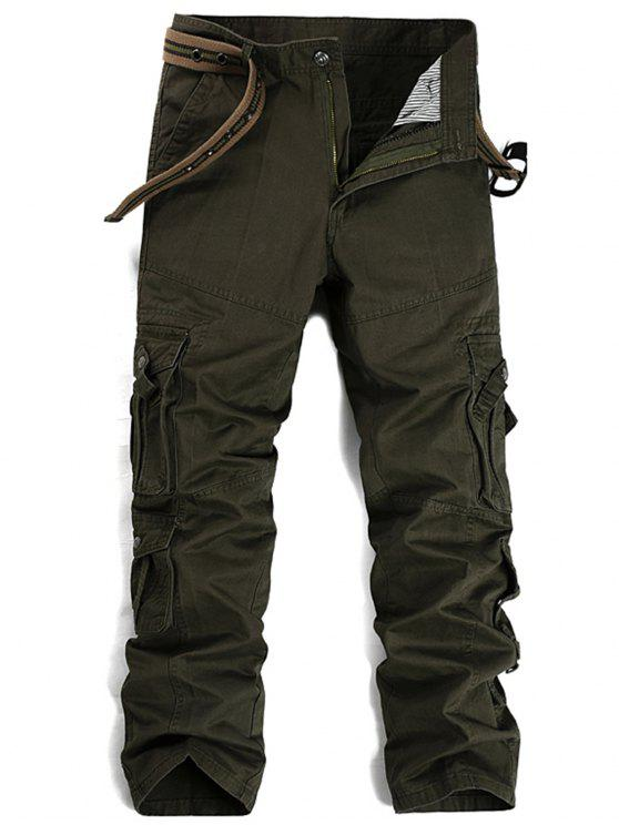Zipper Fly Pleat Bolsos Straight Leg Cargo Pants - Verde 34