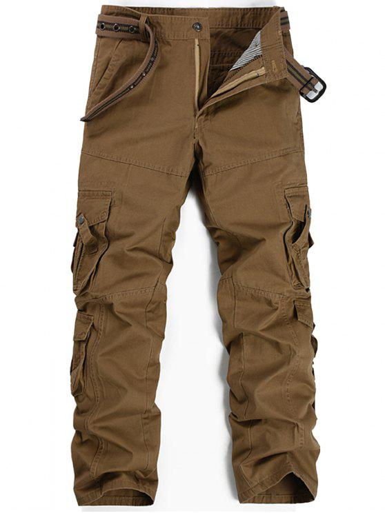 Zipper Fly Pleat Pockets Straight Leg Cargo Pants - Kaki 34