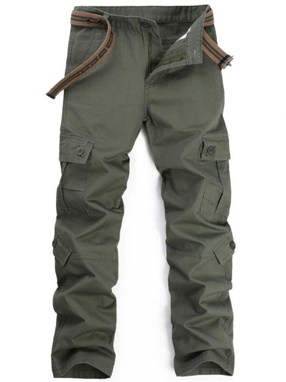trendy Zipper Fly Pockets Cargo Pants - ARMY GREEN 36