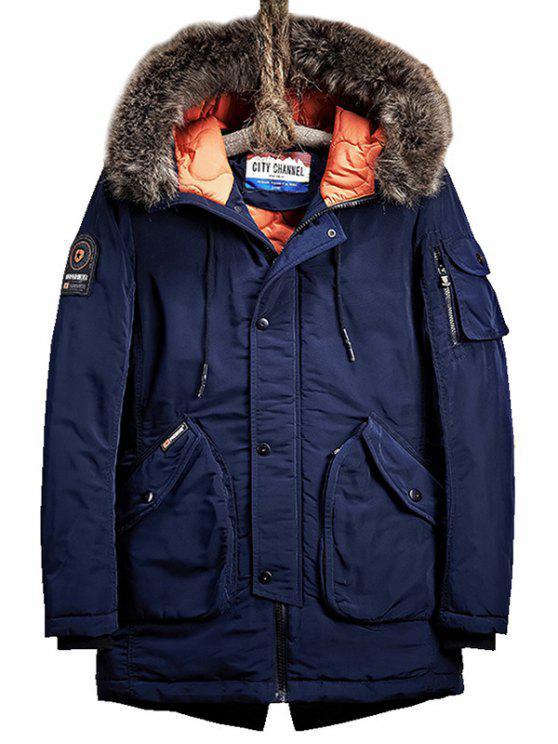 fancy Flap Pockets Zip Up Hooded Parka Coat - PURPLISH BLUE 2XL
