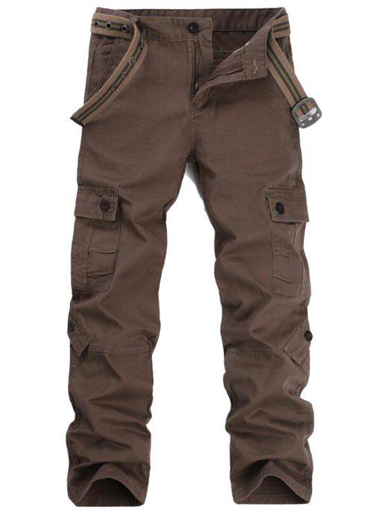 ladies Zipper Fly Pockets Cargo Pants - COFFEE 36