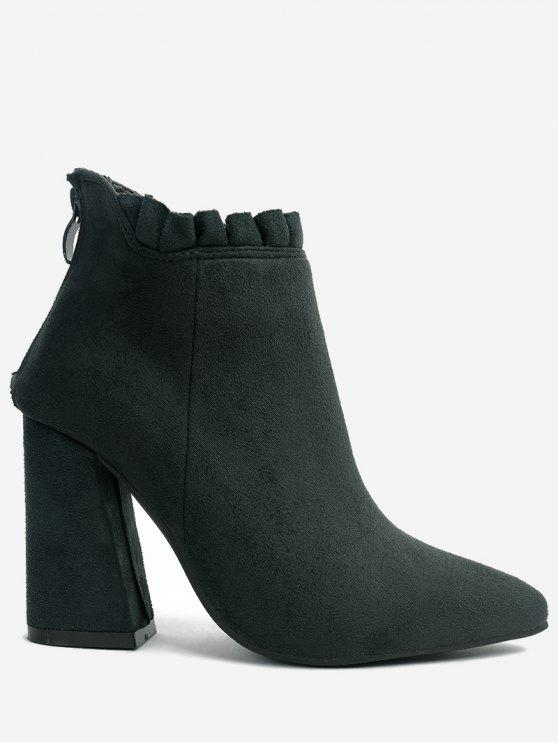 chic Pointed Toe Ruffles Chunky Heel Boots - GREEN 38