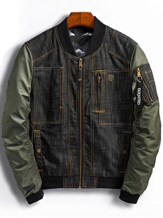 chic Denim Panel Bomber Jacket with Pocket Detail - GREEN 3XL