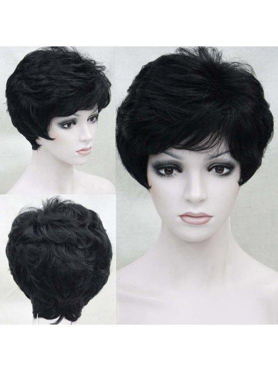 Short Side Bangffy Layered Ligeiramente ondulado peruca de cabelo humano - Preto