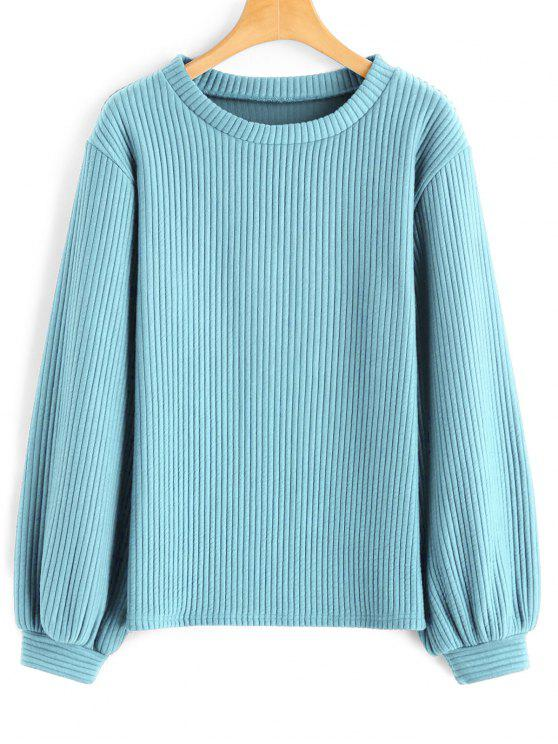 new Lantern Sleeve Ribbed Sweatshirt - LIGHT BLUE M