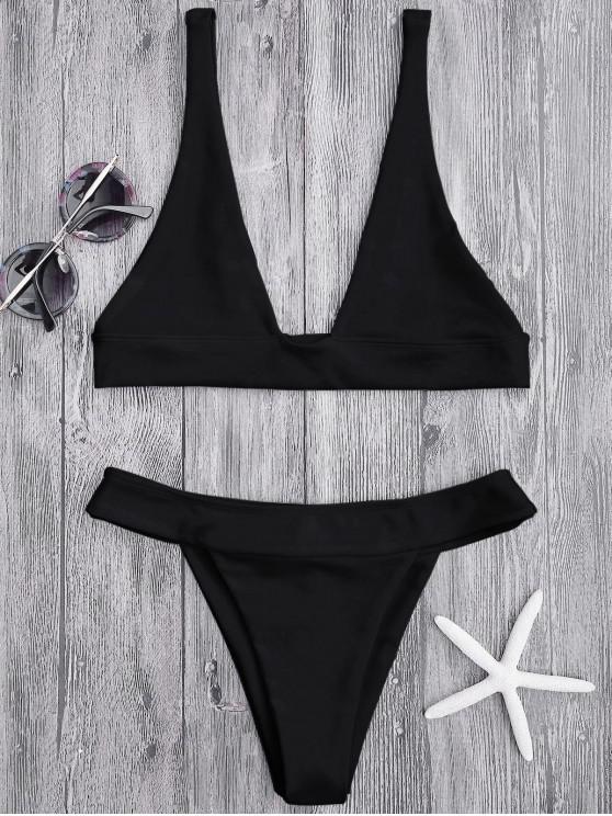 fancy Plunge Bikini Top and High Cut Bottoms - BLACK S