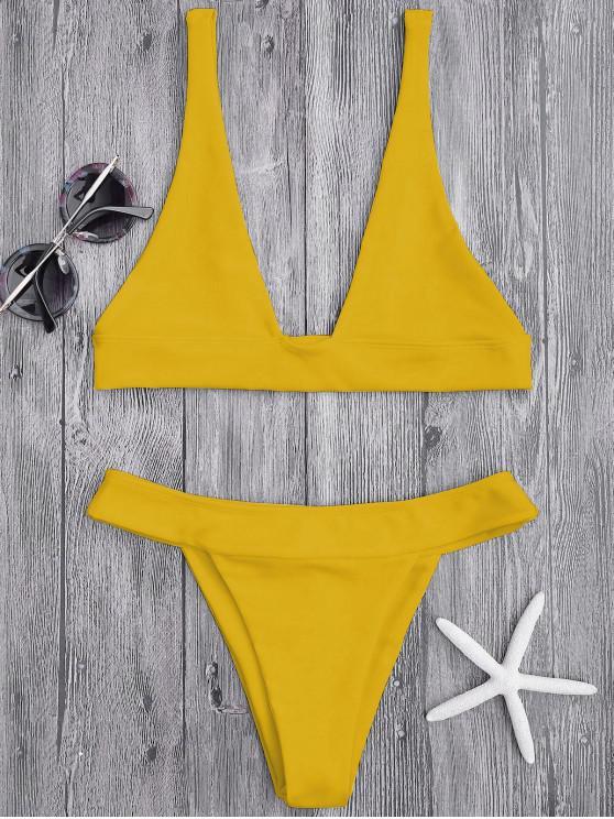women Plunge Bikini Top and High Cut Bottoms - GINGER M