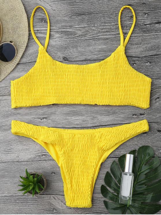 womens Smocked Bikini Top and Bottoms - BRIGHT YELLOW M