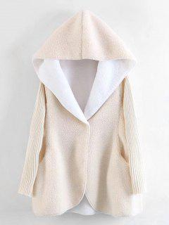Hooded Knitting Sleeve Wool Lamb Coat - Off-white