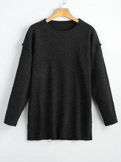 Heathered Oversized Pullover Sweater - Black