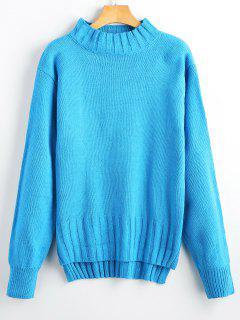 Hoher Niedriger Pullover Mit Mock Neck - Blau