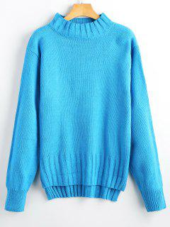 Hoch Niedrig Mock Neck Pullover - Blau