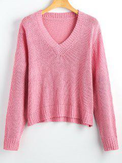 Suéter Con Cuello En V Suelto - Rosa