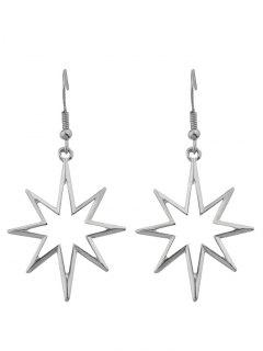 Geometric Alloy Hollow Out Pendant Earrings - Silver